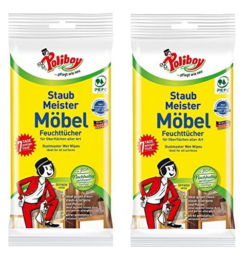 Poliboy - Staubmeister Möbel Feuchttücher - speziell für Holzoberflächen entwickelte Reinigungstücher - 2er Pack - 2x24 Tücher - Made in Germany