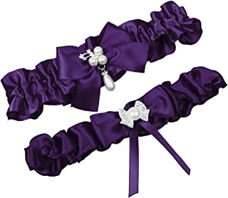 40daa9dbe65 MerryJuly Satin Ribbon Wedding Bridal Garter Belt Set Toss Away Prom Garters