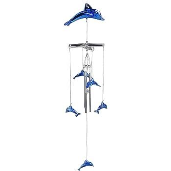 "Dolphin Wind Chime Silver /& Blue Gem Hanging Decor Metal Suncatcher 17/"" 11350"