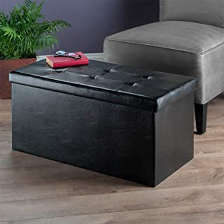 Wood & Style Premium Décor Ottoman with Storage Faux Leather