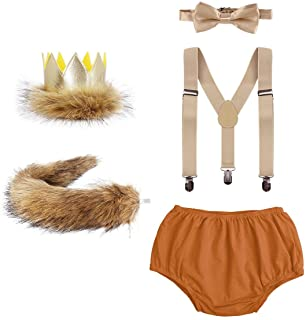 5PCS Baby Boys Lion 1st/2nd Birthday Cake Smash Outfit Wild ONE Suspenders Pants Bowtie Tail Crown Photography Costume