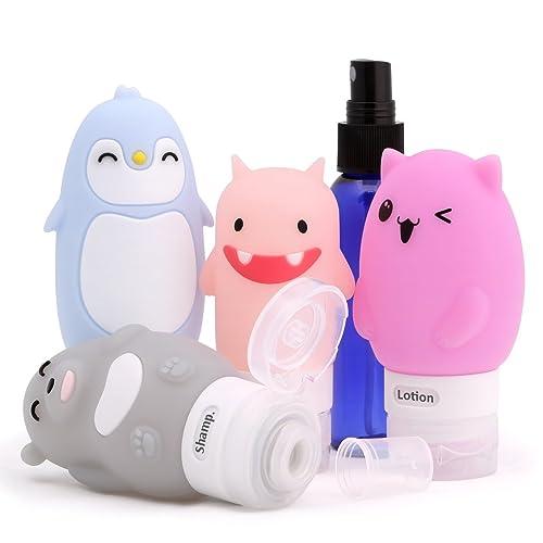 ValourGo Silicone Travel Bottles Leak Proof Cute&Funny Design Travel Bottles Set TSA Approved Travel Containers for Liquids(Cat,Monster,Bear,Penguin+Spray)