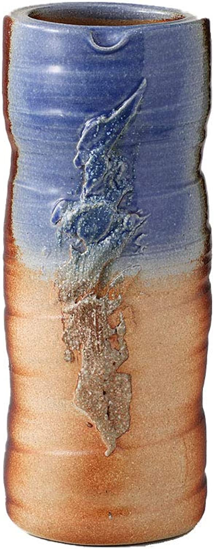 Ale-Net Japanese Ceramic Flower Vase bluee and orange Minoyaki Vase (Made in Japan)