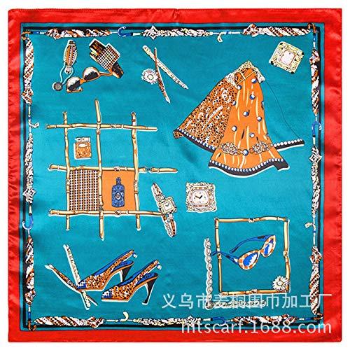 WEJNNI Imitatie zijden sjaal Wind hoge hakken horloge bril patroon dames kleine vierkante sjaal