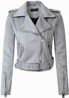 Suede Faux Leather Jackets Lady Fashion Matte Motorcycle Coat Biker Outwear,Light Blue,XL