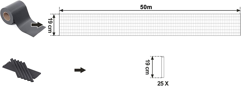 SONGMICS 100m PVC Sichtschutzstreife Zaunfolie Windschutz 2 Rolle m x 19 cm extra dick mit 50 x Befestigungsclips anthrazit GPJ100GY