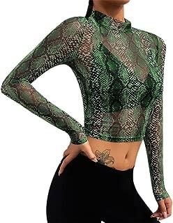 Women's Sexy Turtleneck Long Sleeve Elegant Snake Skin Print Clubwear Mesh Sheer See Through Crop Top(Green)