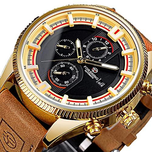Excellent Relojes para Hombre Hombres mecánico automático Impermeable con Banda de Cuero marrón Fecha clásica Fase de Luna Fase Luminosa Manos Luminosas para Hombres,Oro