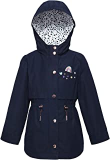 8db84583bb40 Rokka Rolla Girls  Lightweight Water Resistant Hooded Rain Jacket Trench  Coat Windbreaker