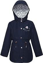 Rokka&Rolla Girls' Lightweight Water Resistant Hooded Rain Jacket Trench Coat Windbreaker