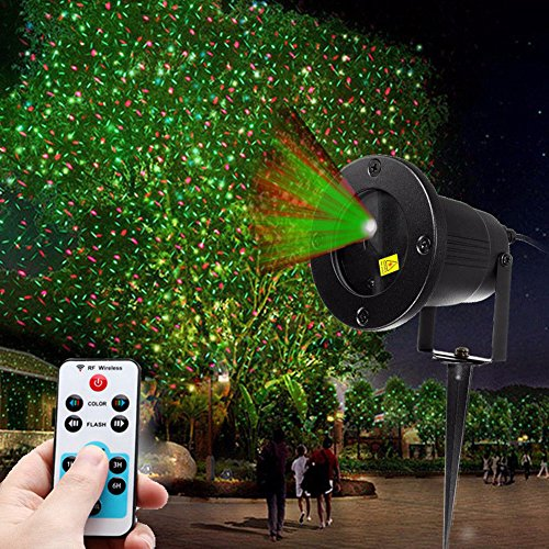 As seen on TV - Outdoor Weatherproof Red and Green Laser LED Light, Create Firefly effect or Gorgeous Twinkling Spot Lights on any surface- Ideal for Stage shows, Wedding, Birthdays