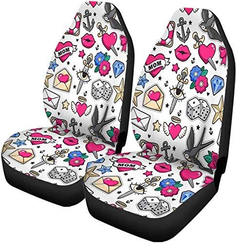 MODORSAN Old School Heart Cherry Dagger Parches y alfileres, Juego de 2 para Autos, Manta de sillín Delantero, Ajuste Universal para vehículo, sedán, SUV y camión, Color Interior de automóvil 2