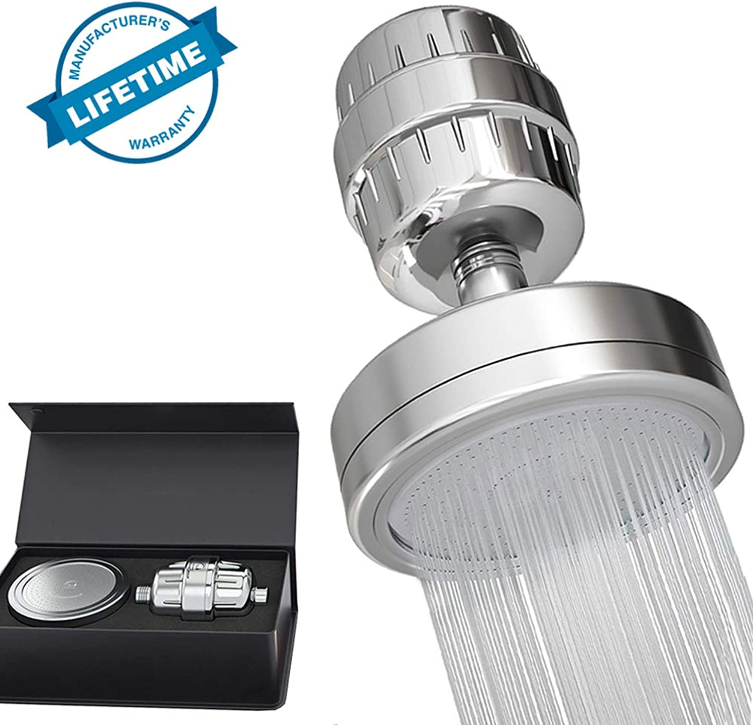 15 Stage Shower Filter and High Pressure Shower Head, Removes Chlorine, Impurities & Unpleasant Odors, High Output Universal Shower Replaceable Multi Stage Filter Cartridge