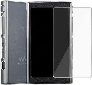 AthnaL Sony Walkman NW-A40 / NW-A30シリーズ ケース ガラス液晶保護フィルム セット NW-A45 / NW-A47 /NW-A46HN / NW-A45HN/NW-A35 / NW-A36HN / NW-A37HN 耐指紋 全面保護 ソフト TPUカバー (クリア)