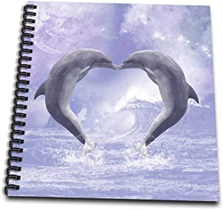 3dRose db_172927_1 Two Kissing Dolphins Forming a Heart in a Purple Ocean-Drawing Book, 8 by 8-Inch