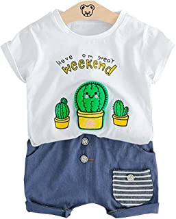 Chumhey Baby Cacti String Printed Knitted Denim Comfy 2Pcs Shorts Set