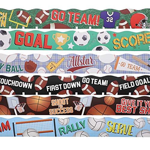 6 Assorted Rolls Sport Bulletin Board Strips, Classroom Decoration (39 feet per Design)