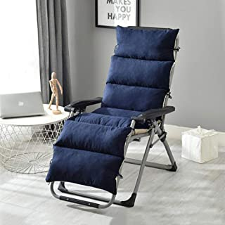 JRMU Patio Chaise Lounger Cushion Ties, 61'' Thick Suede High Back Chair Cushion Removable Washable Seatback Cushions Zipper for Outdoor Patio Garden-Dark Blue 61x20x5inch