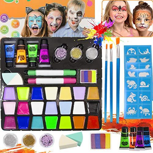 SPECOOL Pinturas Cara para Niños,Kit de Pintura Facial para Niños con 21 Colores, Seguro No Tóxico Kit de Maquillaje de Cosplay para Adultos, Niños para la Fiesta de Carnaval de Halloween