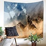 KaO0YaN Wandteppich, Wandtuch, Tapestry, Tagesdecke,Indian Wall Hanging, Bed Sheet, Comforter Picnic Beach Sheet, Wolf, schaut zu den Sternen, 150x130cm