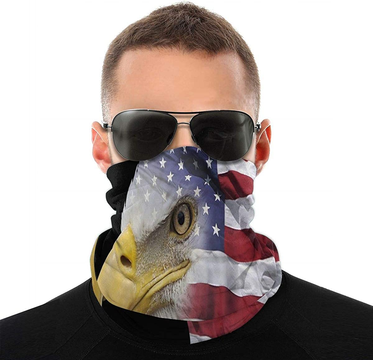 KiuLoam Bald Eagle with US Flag Seamless Face Mask Bandanas Neck Gaiter for Men and Women, Multifunction Headband Scarf for Dust, Outdoors, Sports
