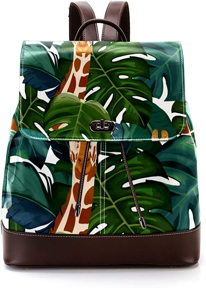 Exotic Palm Tree Giraffe PU Leather Backpack Fashion Shoulder Bag Rucksack Travel Bag for Women Girls