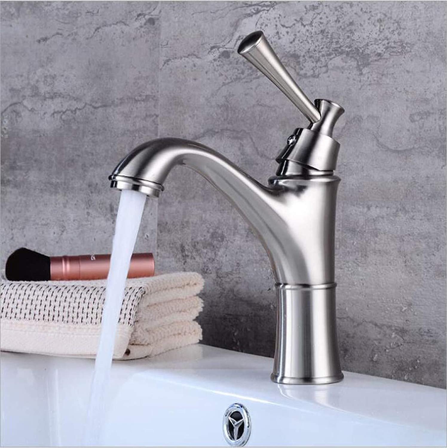 KAIDEFI European-Style All-Copper Antique Basin Faucet Hot And Cold Water Mixing Faucet Antique Wire Drawing Bathroom Sink Faucet Creative Simple Single Hole Hotel Bathroom Faucet Wire Drawing