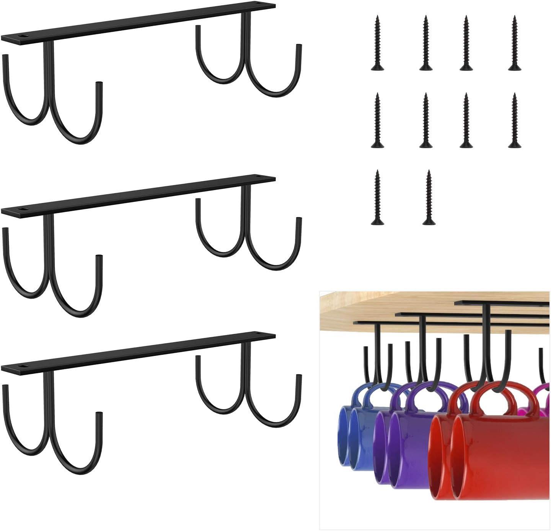 3 Pack x 6 Hook Coffee Cup Hangers Tea Cup Organizer /& Drying Rack for Mugs Coffee Cups /& Kitchen Utensils Display Black Nuovoware Coffee Mug Holders Under Cabinet Hanging Rack