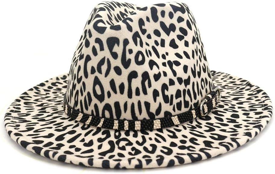 no-branded Men's Women's Leopard Print Fedora Hat with Wide Brim Hat Wool Polyester Jazz Autumn Winter Party ZRZZUS (Color : Cream, Size : 59-60cm)