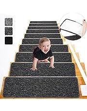 Lemecima 76cm X 21 cm(Paquete de 15) Alfombrillas para Escaleras, Alfombras de Escalera Antideslizante Autoadhesivas para Interiores, para Niños, Ancianos y Mascotas, Gris Oscuro