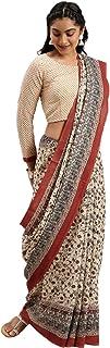 Pure Cotton Indian Handcrafted Kalamkari Print Saree Blouse Formal Woman Occasional Sari 6321 4