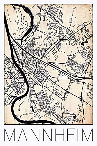 David Springmeyer: Retro Karte Mannheim Deutschland Grunge - Wandbilder selbstklebend, Produkt:Vinylfolie, Größe (HxB):60x40 cm/Vinyl