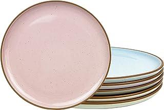 Mora Ceramic Dinner Plates Set of 6, 10 inch Dish Set - Microwave, Oven, and Dishwasher Safe, Scratch Resistant, Modern Ru...