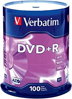 Verbatim DVD+R 4.7GB 16x AZO Recordable Media Disc - 100 Disc Spindle - 95098 (Renewed)