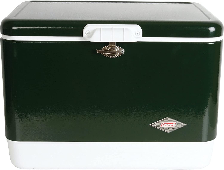 Amazon | 【Amazon.co.jp限定】コールマン(Coleman) クーラーボックス スチールベルトクーラー 54QT 約51L 保冷力4日 グリーン | コールマン(Coleman) | クーラーボックス