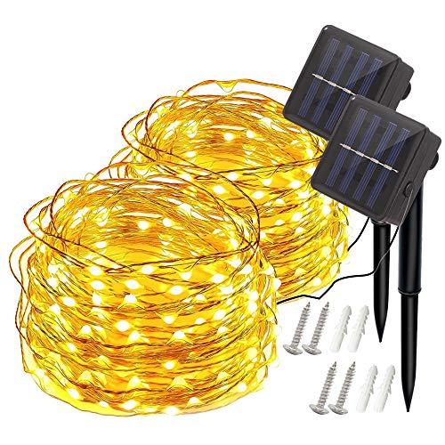 2X Solar Lichterketten, Techgomade 200 LEDs 8 Modi Solarbetriebene Lichterketten, IP65 Wasserdichte dekorative Außenlichterkette, warmweiße Kupferdrahtbeleuchtung, für Patio, Hof, Party, Hochzeit