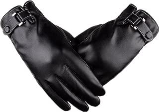 Yingniao Men's Touchscreen Texting Winter Leather Dress Driving Gloves Warm Fleece Lining Black