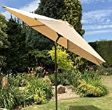 Large 2.7m Beige Metal Crank And Tilt Garden Parasol Umbrella 10 Colours 270cm 38mm Metal Pole - Beige, Brown, Black, Green, Light Grey, Navy Blue, Pink, Purple, Red, Terracotta