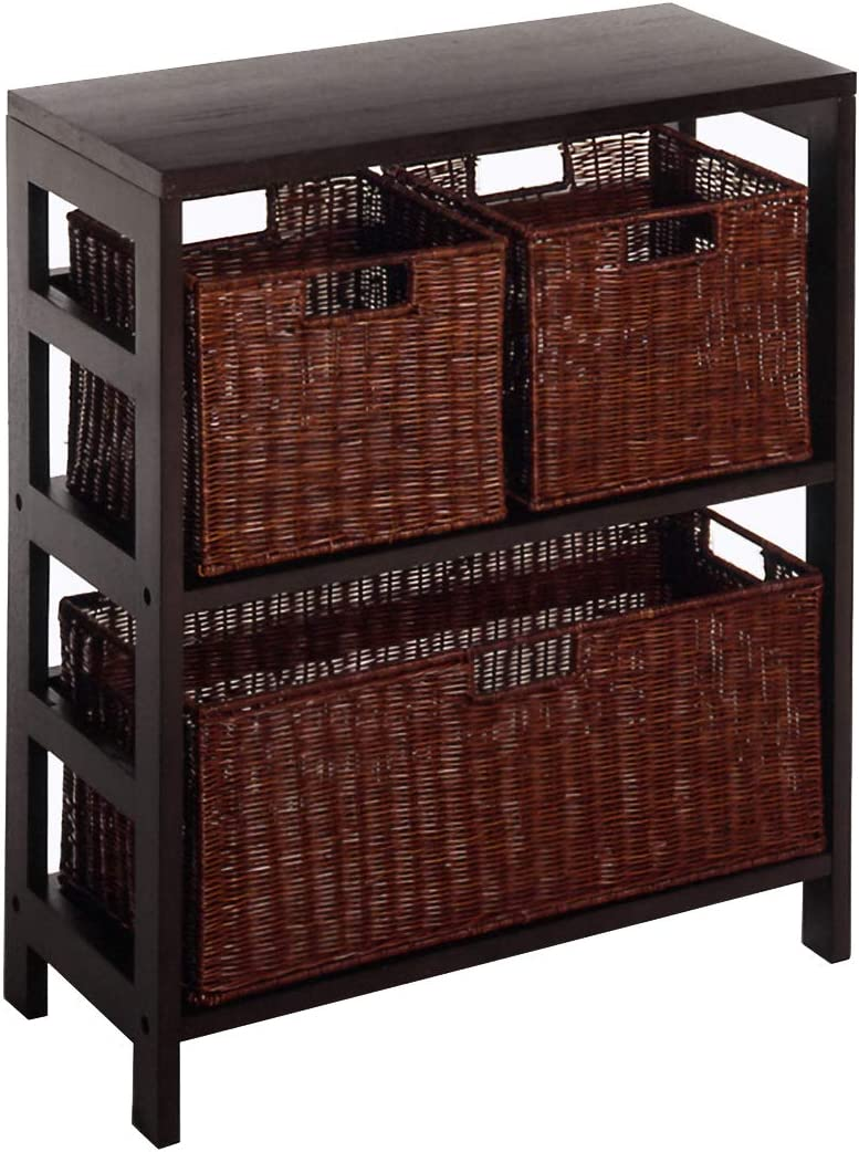 Winsome San Antonio Mall We OFFer at cheap prices Wood Leo 3 Tier Shelf lar with Baskets - 1 Rattan