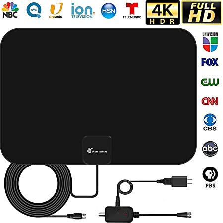Amplified HD TV Antenna, Digital Indoor HDTV Antenna Up to 250 Mile Range, 4K 1080p VHF UHF Television Local Channels Detachable Signal Amplifier and 16.5ft Longer Coax Cable