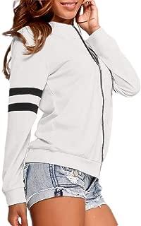 Women Colorblock Long Sleeve Zipper Up Soft Bomber Jacket Outwear