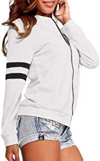 Womens Casual Quilted Long Sleeve Zip Up Slim Fit Bomber Jacket Coat Outwear