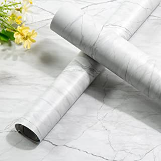 Homein Grey Marble Paper Self Adhesive Decorative Matte Granite Vinyl Film Wallpaper Adhesive Waterproof Removable Peel and Stick Wallpaper Thick Roll for Countertop Cabinet Bathroom 17.5 x 78.7 inch