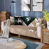 Homeen Cubierta de sofá Antideslizante de Felpa,Protector de sofá de 2/3/4 plazas,Funda de sofá de Invierno de otoño para sofá de Esquina/l sofá de Esquina-Café Ligero_70 * 120cm