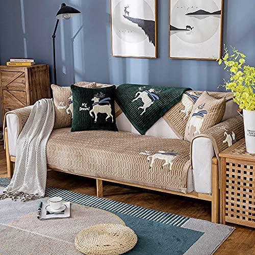 Homeen Cubierta de sofá Antideslizante de Felpa,Protector de sofá de 2/3/4 plazas,Funda de sofá de Invierno de otoño para sofá de Esquina/l sofá de Esquina-Café Ligero_110 * 110cm