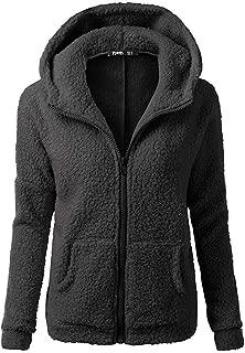 Women Sherpa Sweater Coat Winter Warm Wool Zipper Coat Cotton with Pocket Hooded