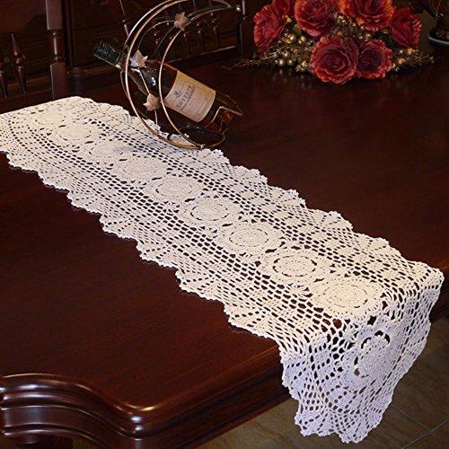 Yazi Ovaler Tischläufer Vintage Sofa Deckchen Hohl Baumwolle für Hochzeit Party Dekor Weiß 30 x 90 cm