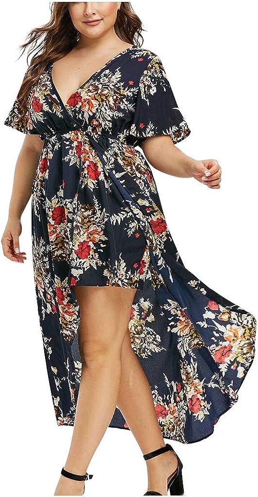 ORT Women Summer Plus Size Dress Floral Print Long Dress Wrap V Neck Short Sleeve Gowns Empire Waist Casual Maxi Dress