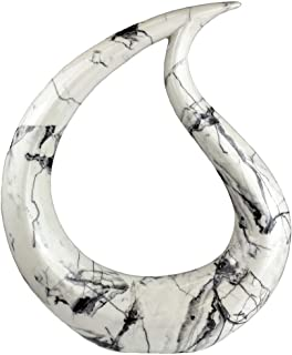 The Bridge Collection Abstract Black & White Marbled Ceramic Teardrop Sculpture