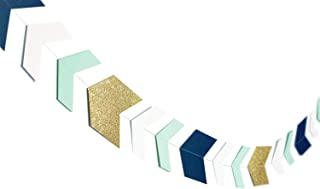 Arrow Paper Garland Decor Nautical Party Decorations Navy Mint Glitter Gold Tribal Garland Perfect for Baby Shower Nursery Decoration Tribal Arrow Nautical Themed Parties Boy Birthday Party 33 pcs